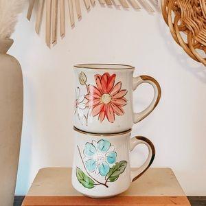 Vintage 1970 Sunnycraft Floral Stoneware Mug Set